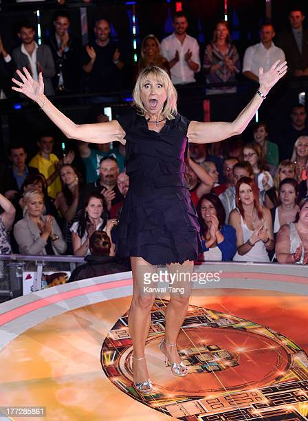 Carol McGiffin enters the Celebrity Big Brother House at Elstree Studios on August 22 2013 in Borehamwood England