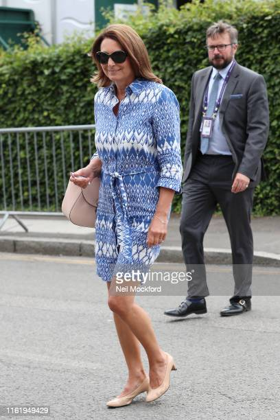 Carol Middleton attends Men's Final Day at the Wimbledon 2019 Tennis Championships at All England Lawn Tennis and Croquet Club on July 14 2019 in...