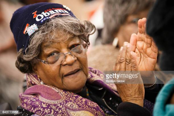 Carol Savory claps as Boston Mayor Marty Walsh makes his remarks during the 4th annual Black History Month Senior Celebration at Prince Hall in...