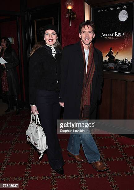 Carol Schneider and actor Andrew McCarthy arrive at the premiere of Warner Bros Pictures August Rush at the Ziegfeld Theater on November 11 2007 in...
