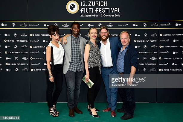Carol Schuler, Eugene Boateng, Ursina Lardi, guest and Stefan Merki attend the 'Im Nirgendwo' Photocall during the 12th Zurich Film Festival on...