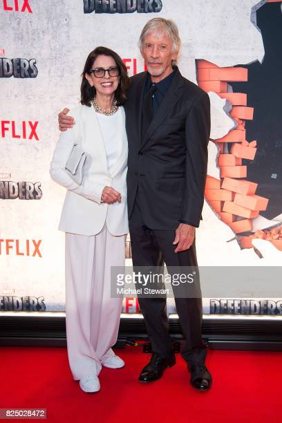 Carol Schwartz and actor Scott Glenn attend the 'Marvel's The Defenders' New York premiere at Tribeca Performing Arts Center on July 31, 2017 in New...
