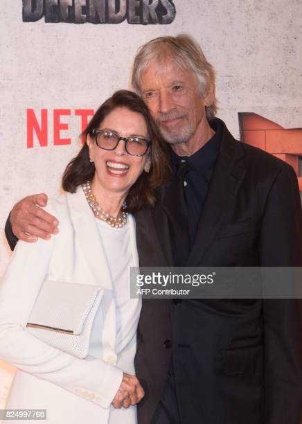 Carol Schwartz and Scott Glenn arrive for the Netflix premiere of Marvel's 'The Defenders' on July 31 2017 in New York / AFP PHOTO / Bryan R Smith