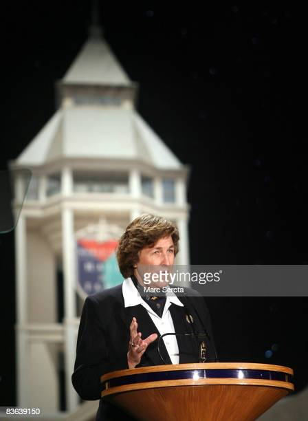 Carol Semple Thompson a legendary amature golfer speaks at the World Golf Hall of Fame on November 10 2008 during induction ceremonies in St...