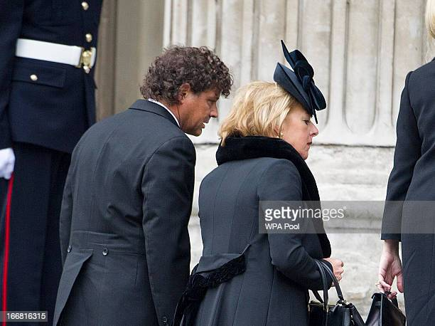Carol Thatcher and Marko Grass attend the Ceremonial funeral of former British Prime Minister Baroness Thatcher St Paul's Cathedral on April 17 2013...