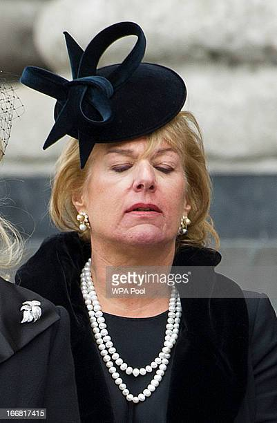 Carol Thatcher attends the Ceremonial funeral of former British Prime Minister Baroness Thatcher St Paul's Cathedral on April 17 2013 in London...