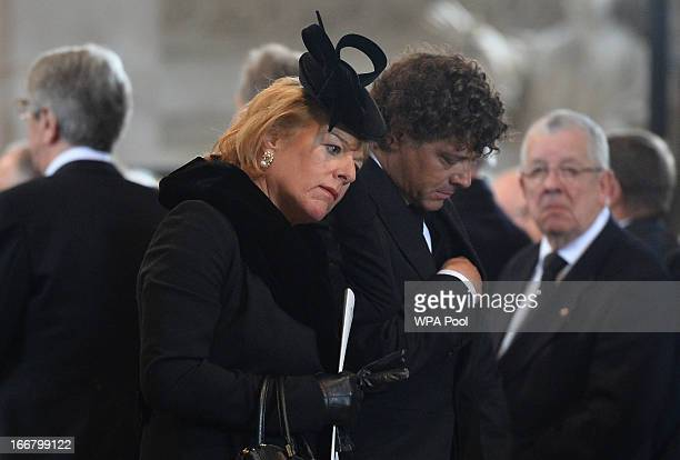 Carol Thatcher daughter of Margaret Thatcher and her partner Marco Grass attend the Ceremonial funeral of former British Prime Minister Baroness...