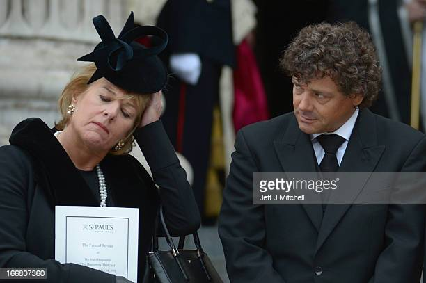 Carol Thatcher leaves the Ceremonial funeral of former British Prime Minister Baroness Thatcher at St Paul's Cathedral on April 17 2013 in London...