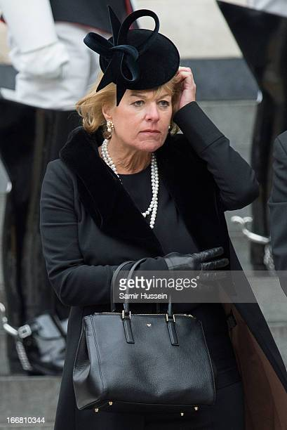 Carol Thatcher leaves the ceremonial funeral service of former British Prime Minister Margaret Thatcher at St Paul's Cathedral on April 17 2013 in...