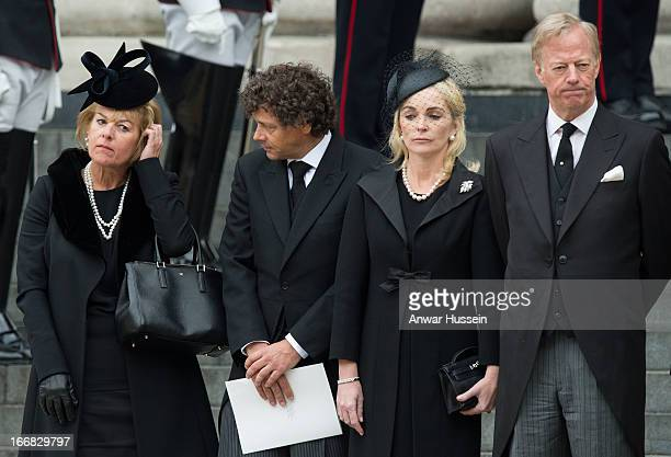 Carol Thatcher Marco Grass Sarah Thatcher and Mark Thatcher attend the funeral of Margaret Thatcher at St Paul's Cathedral on April 17 2013 in London...