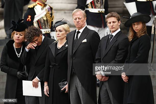 Carol Thatcher Marco Grass Sarah Thatcher Mark Thatcher Michael Thatcher and Amanda Thatcher look on from the steps of St Paul's Cathedral as the...