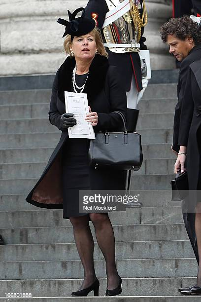 Carol Thatcher seen attending Baroness Thatcher's Funeral at St Paul's Cathedral on April 17 2013 in London England