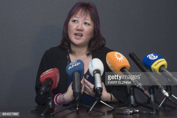 Carol Todd the mother of Amanda Todd speaks during a press conference at the Corendon Vitality Hotel in Amsterdam on February 6 2017 A 38yearold...