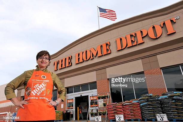 Carol Tome, chief financial officer of Home Depot Inc., poses for a photo outside a Home Depot store in Atlanta, Georgia, U.S., on Thursday, Oct. 28,...