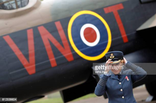Carol Vorderman Ambassador for the Royal Air Force Air Cadets poses before Prince William Duke of Cambridge arrives to Battle of Britain veteran 99...