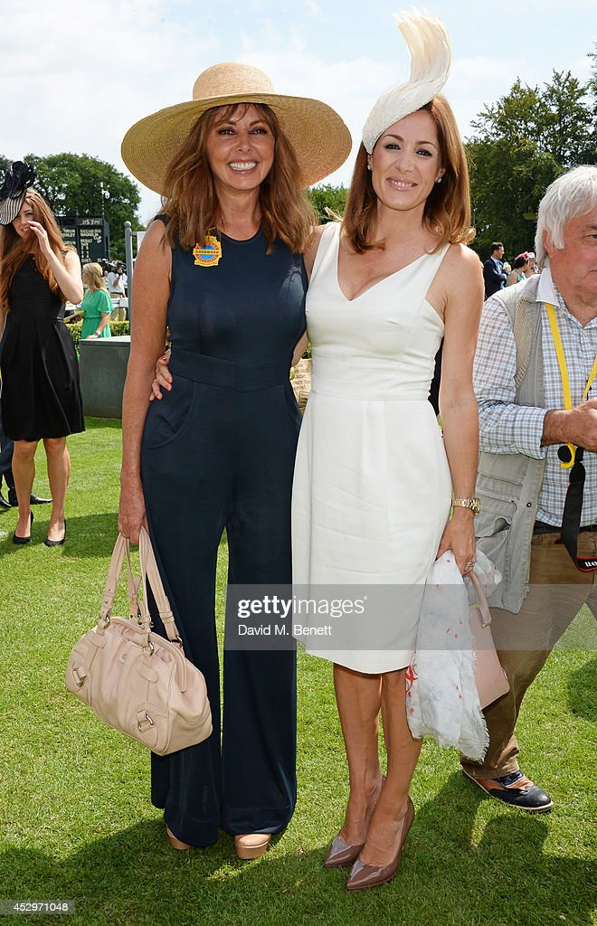 Carol Vorderman (L) and Natalie Pinkham pose in the winners enclosure after the Pioneering Women's Luncheon at Glorious Goodwood Ladies Day at Goodwood on July 31, 2014 in Chichester, England.