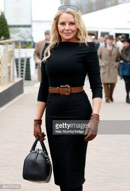 Carol Vorderman attends day 3 of the Cheltenham Festival at Cheltenham Racecourse on March 16, 2017 in Cheltenham, England.