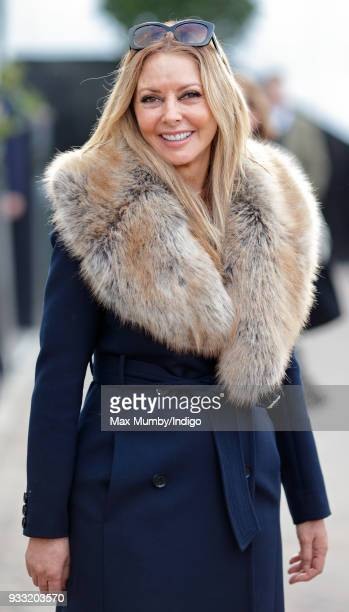 Carol Vorderman attends day 3 'St Patrick's Thursday' of the Cheltenham Festival at Cheltenham Racecourse on March 15, 2018 in Cheltenham, England.