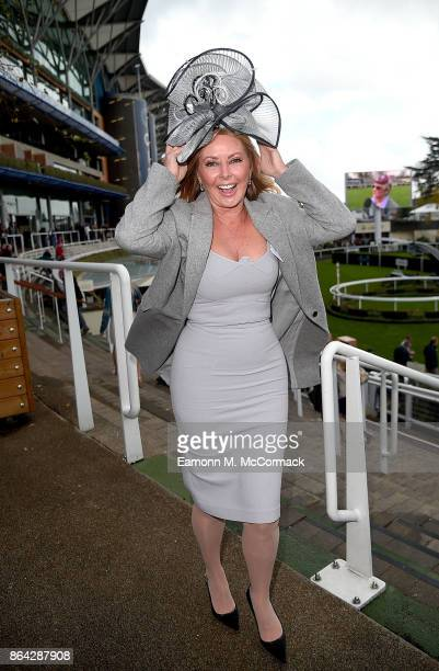 Carol Vorderman attends the QIPCO British Champions Day at Ascot Racecourse on October 21 2017 in Ascot United Kingdom
