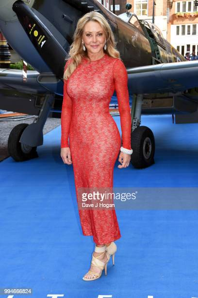 "Carol Vorderman attends the World Premiere of ""Spitfire"" at The Curzon Mayfair on July 9, 2018 in London, England."