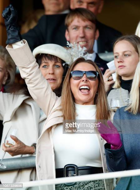 Carol Vorderman cheers as she watches the racing during the QIPCO British Champions Day at Ascot Racecourse on October 20, 2018 in Ascot, United...