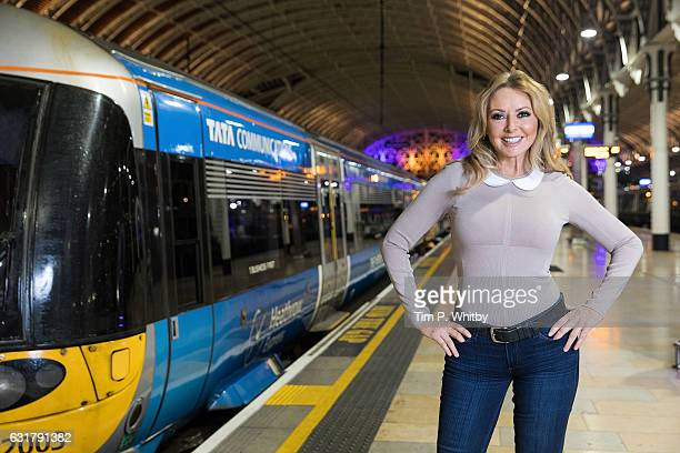 Carol Vorderman poses for a photo to highlight the Heathrow Express Service from Paddington Station on January 16, 2017 at Paddington Station in...