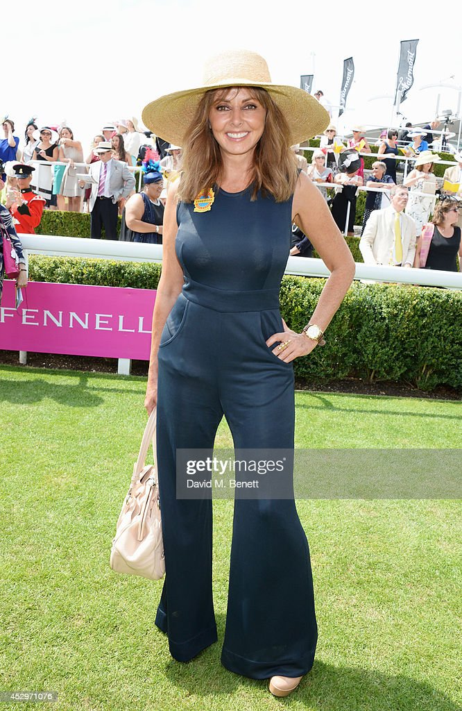 Carol Vorderman poses in the winners enclosure after the Pioneering Women's Luncheon at Glorious Goodwood Ladies Day at Goodwood on July 31, 2014 in Chichester, England.