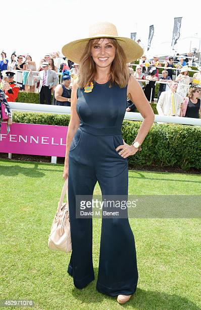 Carol Vorderman poses in the winners enclosure after the Pioneering Women's Luncheon at Glorious Goodwood Ladies Day at Goodwood on July 31 2014 in...