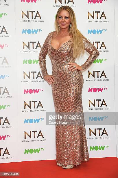 Carol Vorderman poses in the winners room at the National Television Awards at The O2 Arena on January 25, 2017 in London, England.