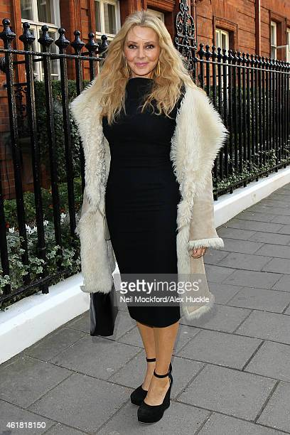 Carol Vorderman seen arriving at Claridges Hotel to attend the Longines World's Best Race Horse Ceremony on January 20, 2015 in London, England.