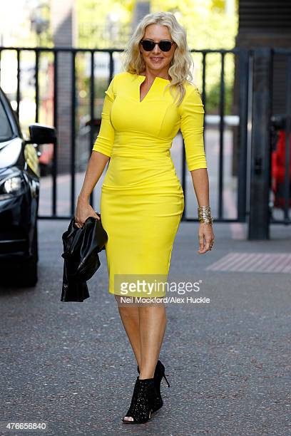 Carol Vorderman seen leaving the ITV Studios after an appearance on 'Lorraine' on June 11, 2015 in London, England.