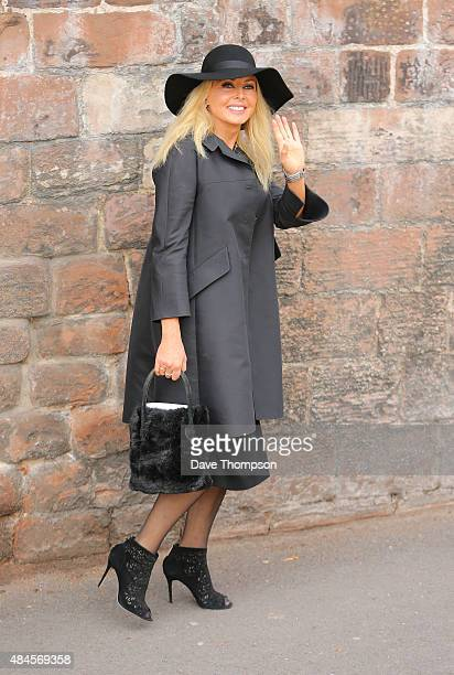 Carol Vordermann leaves St Mary's Catholic Church following the funeral of Cilla Black on August 20 2015 in Liverpool England Singer and TV host...