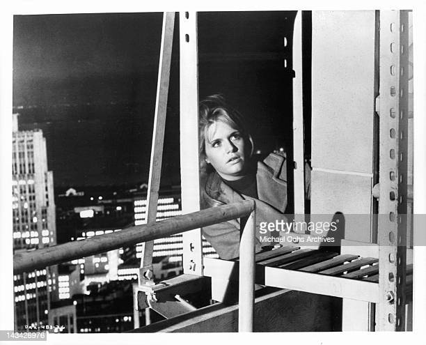 Carol White atop the Mark Hopkins Hotel in a scene from the film 'Daddy's Gone AHunting' 1969