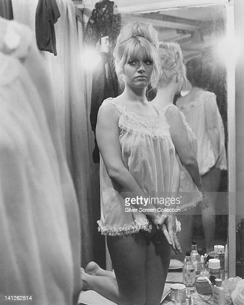Carol White British actress wearing a babydoll nightgown looking nervous in a publicity portrait issued for the film 'Poor Cow' Great Britain 1967...