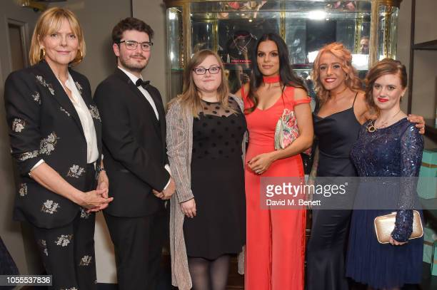 Carol Woolton with The Leopard winners Louis Browning Hannah Jackson Neev Spencer Mollie Taylor and Katherine Anderson attend the Leopards' Prince's...