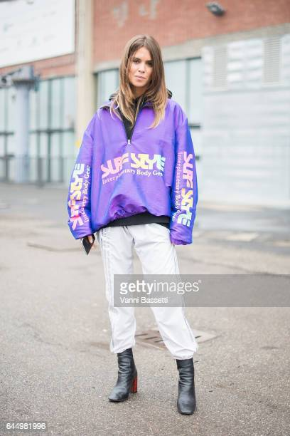 Carola Bernard poses after the Lucio Vanotti show during Milan Fashion Week Fall/Winter 2017/18 on February 24 2017 in Milan Italy