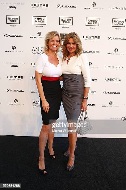 Carola Ferstl and Maren Gilzer attend the Platform Fashion Selected show during Platform Fashion July 2016 at Areal Boehler on July 24 2016 in...