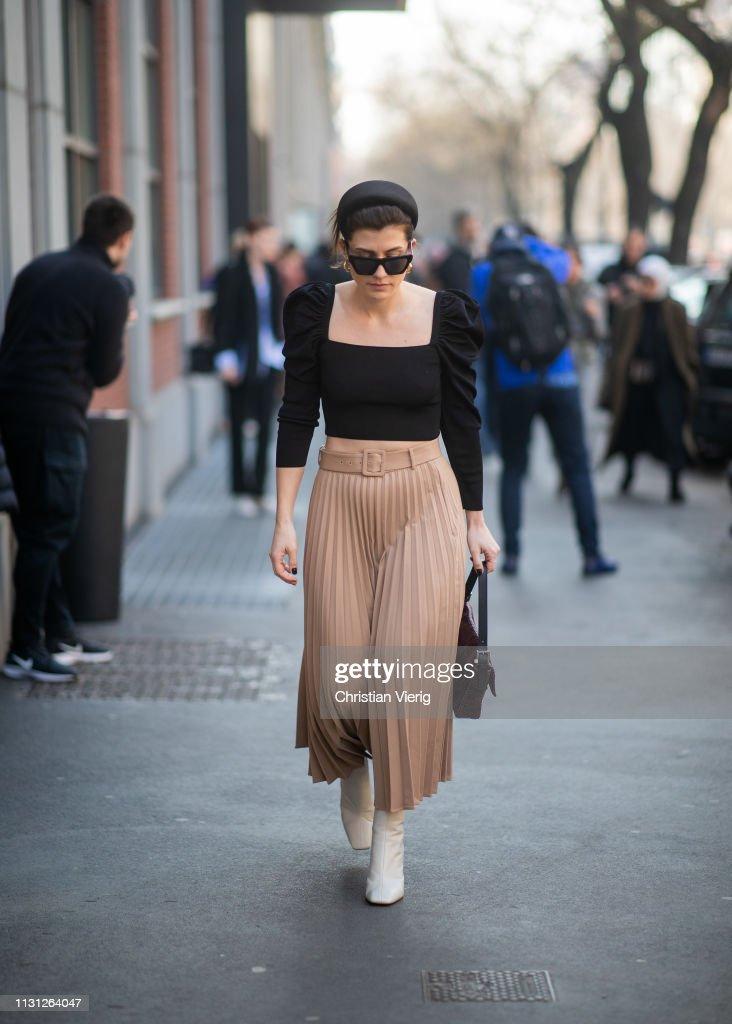 Street Style - Day 2: Milan Fashion Week Autumn/Winter 2019/20 : Nachrichtenfoto