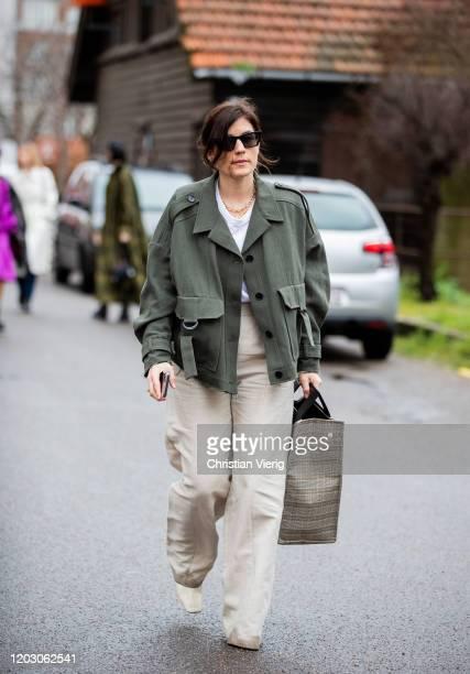 Carola Pojer seen wearing green jacket outside By Malene Birger during Copenhagen Fashion Week Autumn/Winter 2020 Day 3 on January 30 2020 in...