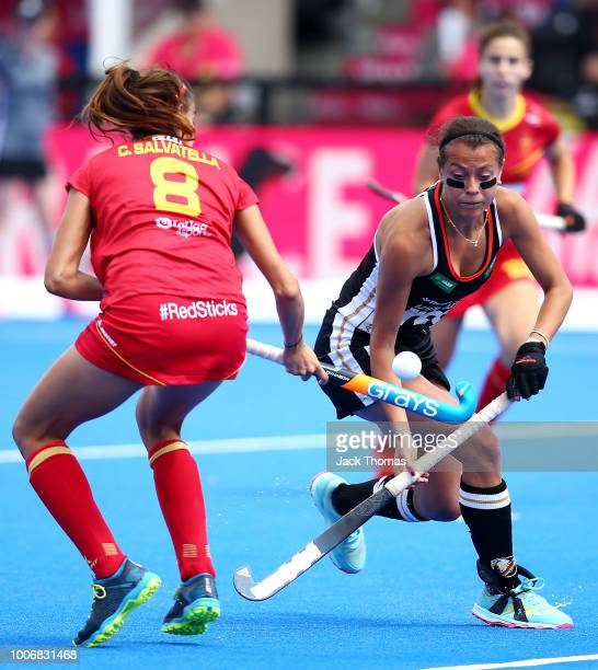 Carola Salvatrlla of Spain and Selin Oruz of Germany in action during the FIH Womens Hockey World Cup Pool C game between Spain and Germany at Lee...