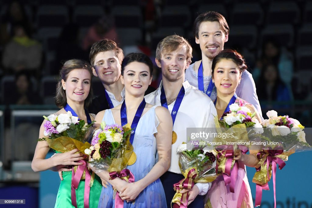 Carolane Soucisse and Shane Firus of Canada (silver), Kaitlin Hawayek and Jean-Luc Baker of the USA (gold), Kana Muramoto and Chris Reed of Japan (bronze) pose on the podium during day two of the Four Continents Figure Skating Championships at Taipei Arena on January 25, 2018 in Taipei, Taiwan.