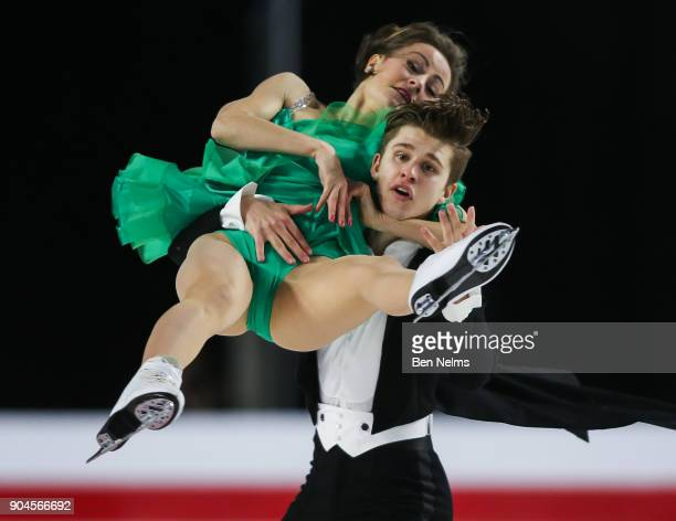 Carolane Soucisse and Shane Firus of Canada perform their free dance during the 2018 Canadian Tire National Skating Championships game at the Doug...
