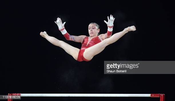 Carolann Heduit of France competes on the uneven bars during the 2019 Gymnastics World Cup at the at Resorts World Arena on March 23 2019 in...