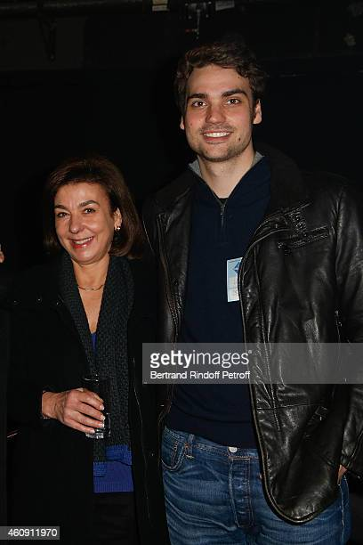Carole Amiel and her son Valentin Livi attend in Backstage the Laurent Gerra Show at Palais des Sports on December 27 2014 in Paris France