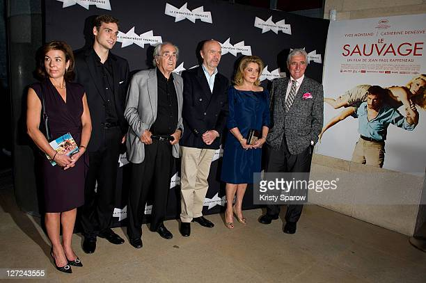 Carole Amiel Valentin Montand Michel Legrand JeanPaul Rappeneau Catherine Deneuve and JeanLoup Dabadie attend the 'Le Sauvage' screening at la...