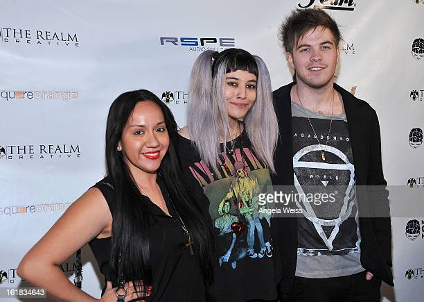 Carole and Cindy and Perry von Rosenvinge attend The Realm Creative red carpet premier party on February 16 2013 in Los Angeles California