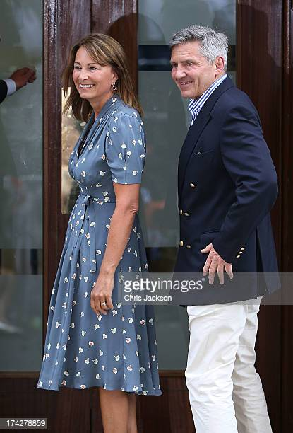 Carole and Michael Middleton arrive at The Lindo Wing to visit their daughter Catherine Duchess Of Cambridge and her newborn son on July 23 2013 in...