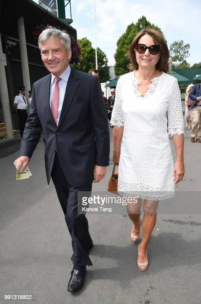 Carole and Michael Middleton attend day three of the Wimbledon Tennis Championships at the All England Lawn Tennis and Croquet Club on July 4 2018 in...