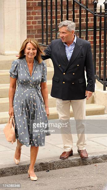 Carole and Michael Middleton depart The Lindo Wing after visiting their daughter The Duchess Of Cambridge and her newborn son at St Mary's Hospital...