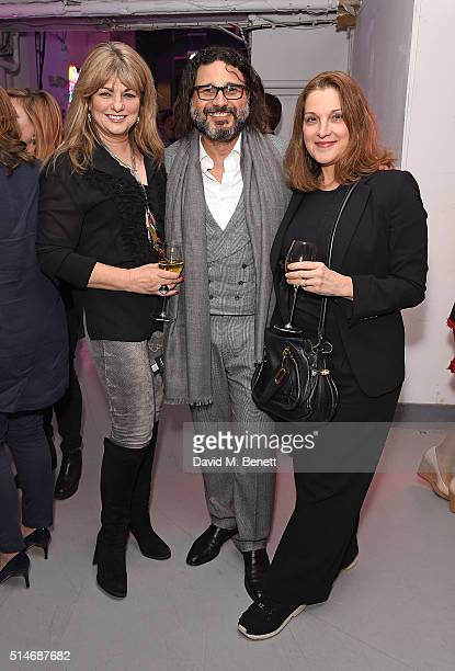 Carole Ashby Hani Farsi and Barbara Broccolli attend the Soho Theatre Gala 2016 at The Vinyl Factory on March 10 2016 in London England